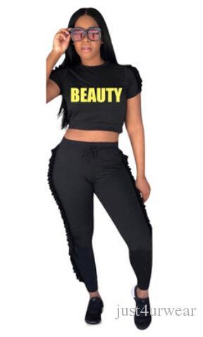 2- 조각 세트 편지 인쇄 여성 캐주얼 패션 반팔 Tshirt 긴 바지 2pcs 정장 Tracksuits 여성 의류 세트