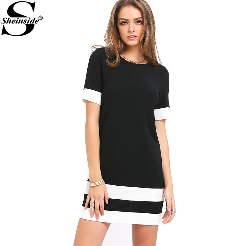 Sheinside Mesdames Color Block Casual Mini Robes Nouvel Automne Style Noir Blanc Patchwork Ras Du Cou À Manches Courtes Robe Droite