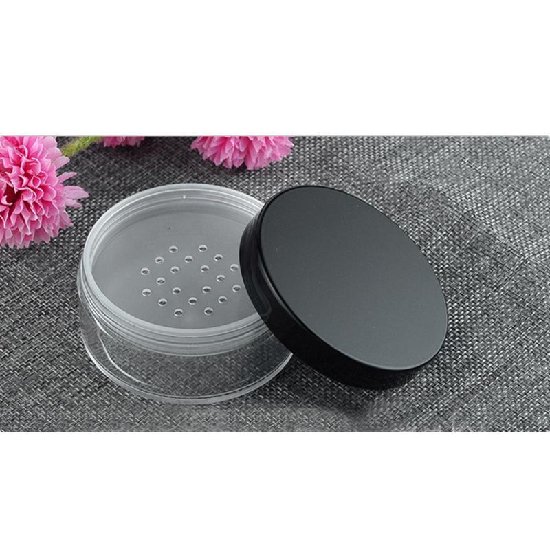 50g en plastique en vrac bocal en poudre avec tamis vide contenant cosmétique noir mat bonnet de maquillage livraison gratuite 30pcs