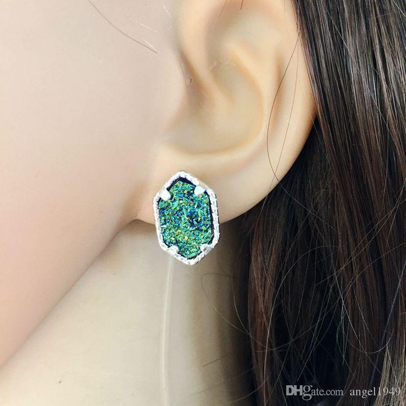 Kadınlar için küpe Gümüş Kaplama Altıgen Doğal Taş Damızlık Kulak Yüzük Druzy Taş Damızlık Küpe Moda Takı