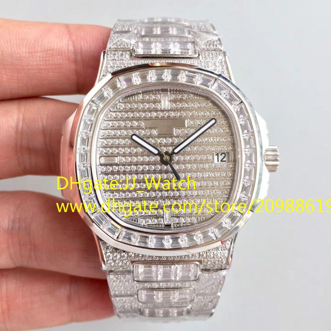 최고 품질의 전체 다이아몬드 럭셔리 시계 Cal.324SC 자동 손목 시계 달력 사파이어 40mm 스위스 시계 상자 및 논문