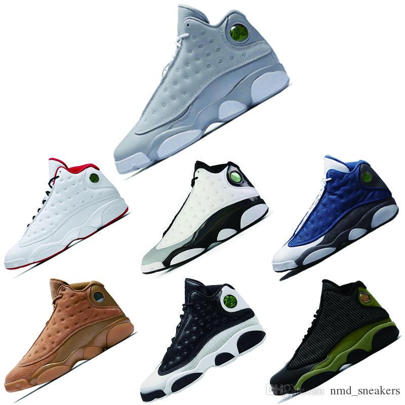 nike air jordan Scarpe da uomo all'ingrosso 13 nuove scarpe da basket a colori 13 Wolf Grey Olive Hyper Royal Blu comode scarpe da ginnastica alte 13s all'esterno
