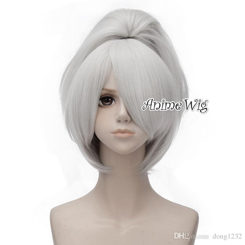 Anime Darker Than Black Yin 30cm Short Silver White Cosplay Wig+50CM Ponytail