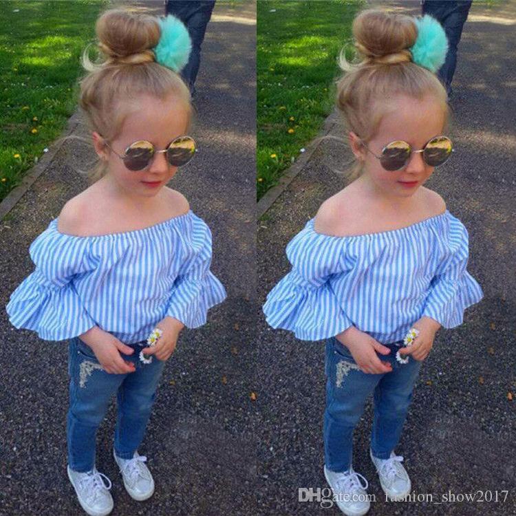 جديد رعاة البقر الفتيات أزياء شعبية الدنيم السراويل مخطط الأزرق القمصان والسراويل الطويلة 2PCS الأطفال البدلة