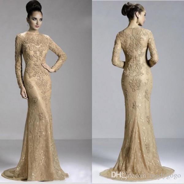 Золотой сексуальный длинным рукавом драгоценный камень вечернее платье молния развертки поезд формальные платья выпускного вечера с бисером жемчужные аппликации арабское платье кружева