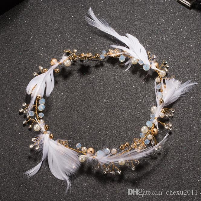 tocado de plumas de Corea con el espíritu dulce, accesorios para el cabello, accesorios de la boda, el vestido de novia.