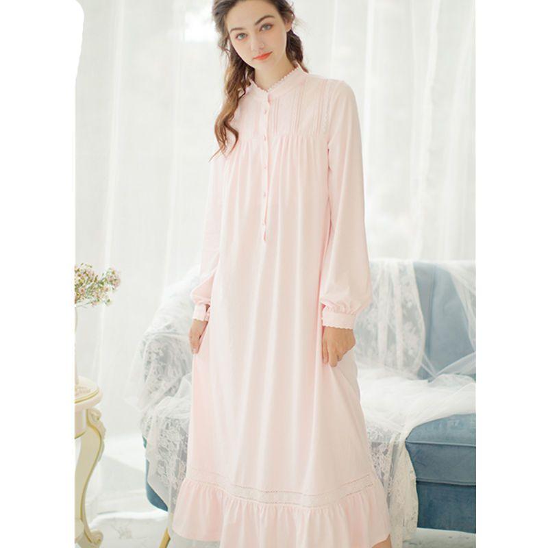 Camisolas Vintage Sleepshirts Outono Mulheres Sleepwear Rosa Gola Botão Frente Manga Longa Desgaste da Noite Vestido De Algodão Macio