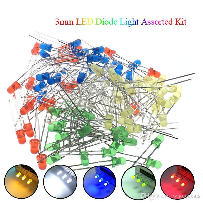 5 ألوان * 20 قطع = 100 قطع / 1 اللون = 100 قطع 3 ملليمتر led ديود ضوء حلو كيت الأخضر الأزرق الأبيض الأصفر الأحمر مكون الإلكترونية diy كيت