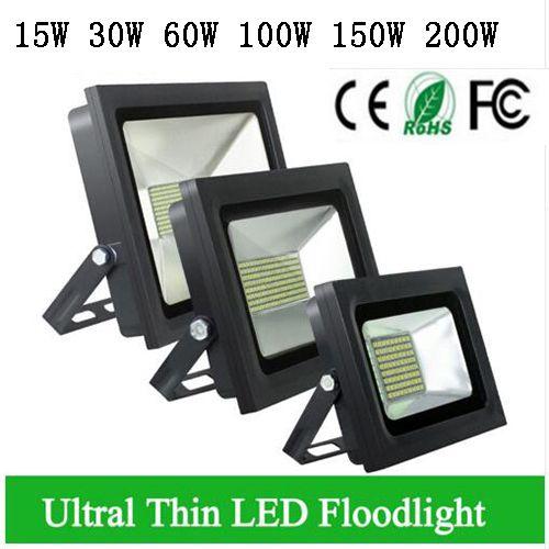 4 PCS LED Refletor 110 V 220 V CONDUZIU a Luz de Inundação 100 W 150 W 200 W 300 W 500 W Holofote Led Holofotes Jardim Ao Ar Livre Lâmpada de Parede Fina
