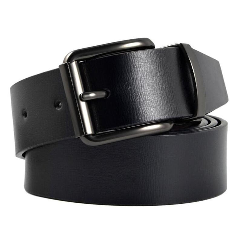 LannyQveen Mens Leather Belts Pin Buckle Belt