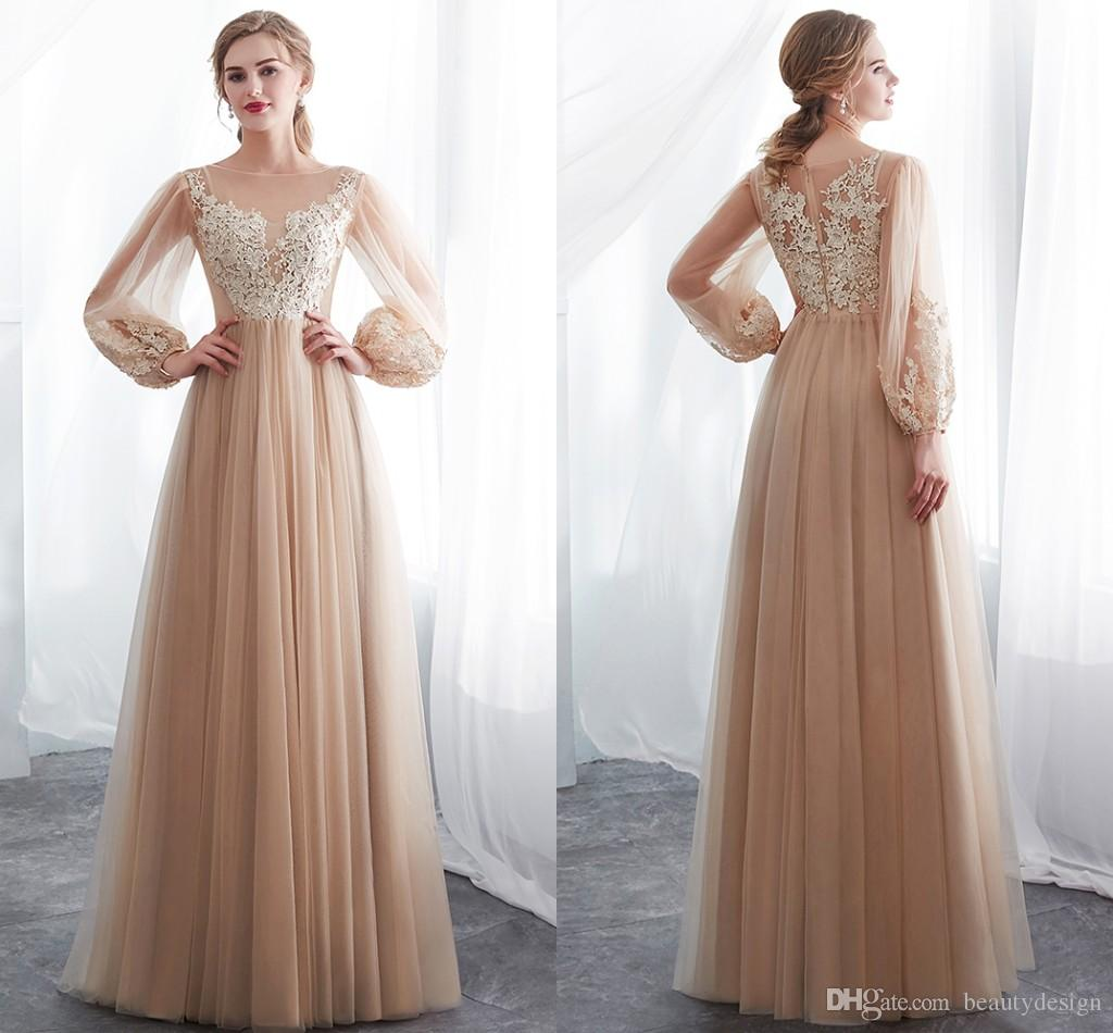 Cheap Champagne Long Poet Sleeves Wedding Dresses Gorgeous Summer Beach Floor Length Lace Appliqued Wedding Bridal Gowns Look CPS1015