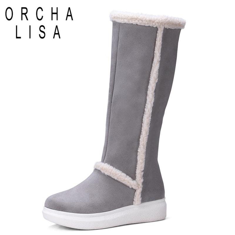 ORCHA LISA Nouveauté Hiver Veau Bottes Slip -on Femme Chaussures Botas Plateforme Bottes De Neige Femme Chaude C707
