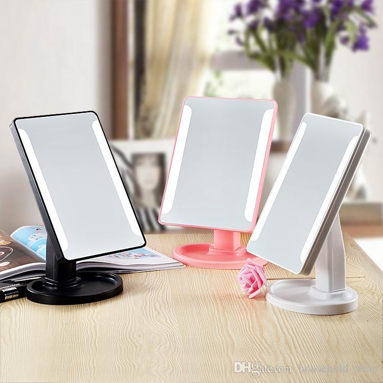 Sıcak Satış LED Makyaj Aynası Kozmetik Masaüstü Taşınabilir Kompakt 16 LED işıklar Kadın Siyah Beyaz Pembe
