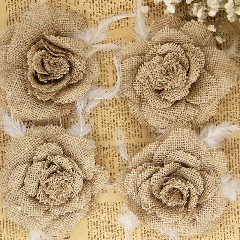 Fiori Juta.Acquista 11 Centimetri Fiore Di Lino Piccole Rose Di Lino Fai Da