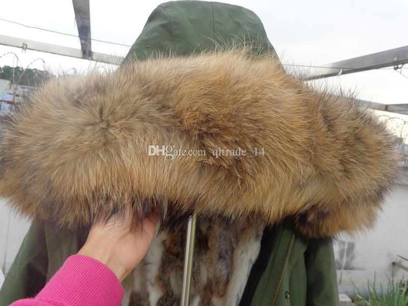 Großhandel Jazzevar Marke Frauen Schnee Jacken Rose Waschbären Pelzbesatz Rose Kaninchen Pelz Futter Armee Grün Lange Parkas Australien Neuseeland Von