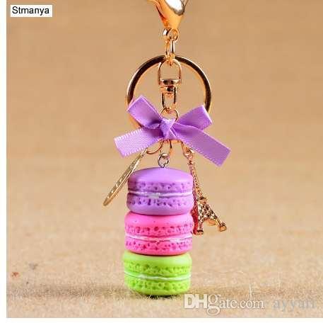 Nuova torta portachiavi moda auto portachiavi donna borsa accessori fascino Francia torta macaron con portachiavi regalo gioielli torre Eiffel