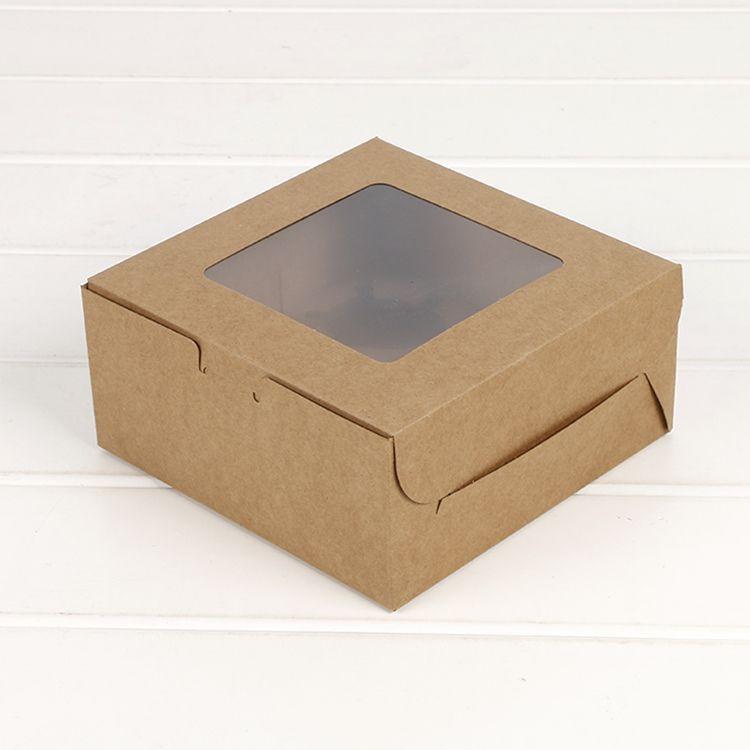 Коробка для кексов с окном Подарочная упаковка для свадебной вечеринки 4 держателя для тортов белого коричневого цвета из крафт-бумаги