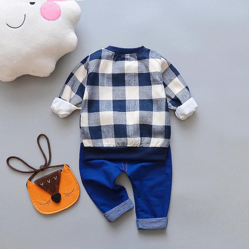 ce4a7b03fc58 2019 Newborn Baby Boy Denim Zipper Coat+T Shirt +Jeans Bebes Smiling ...