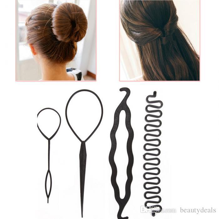 4шт / набор Магия волос Плетение Twist бигуди Styling Set Шпилька Холдинг плетельные волос выдергивают волосы иглы хвостик DIY инструмент