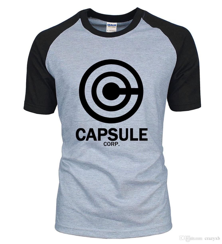 Новое прибытие аниме DRAGON BALL Z мужчины футболка 2018 лето 100% хлопок CAPSULE CORP. письма реглан мужчины футболка для любителей S-2XL