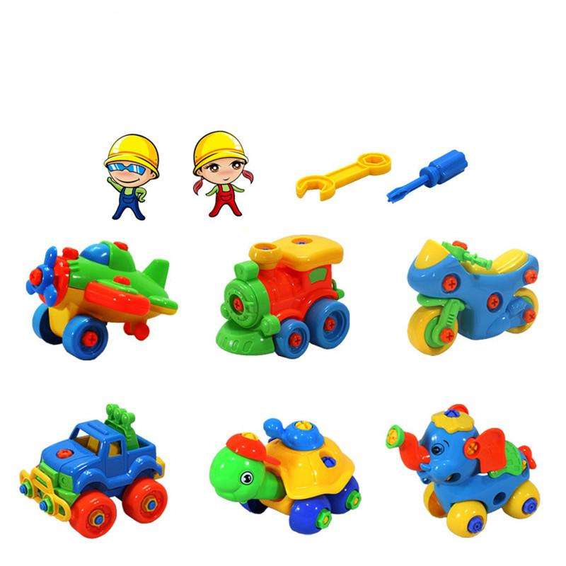 New DIY Disassembling Small Turtle Elephant Car Aircraft Train Motorcycle Puzzle Assembled Model Educational Toys for Children