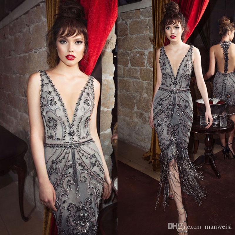 Julie Vino Silver Grey 2018 Prom Dresses Deep V Neck Beaded Knee Length Formal Dress Evening Wear Crystal Sequins Party Dress