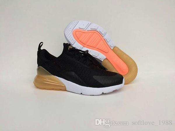 Acheter Nike Air Max 270 2019 Bon Marché New Marque Infant Kids Chaussures De Course Noir Blanc Dusty Cactus Extérieur Enfant En Bas Âge Athlétique
