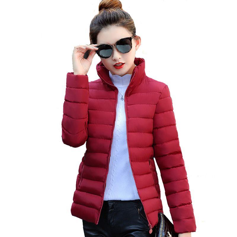 Col montant Femmes Basique Veste D'hiver Mince Automne Automne Femmes Vestes D'hiver Courtes Dames Manteau Jaqueta Feminina Inverno 2018 S18101203