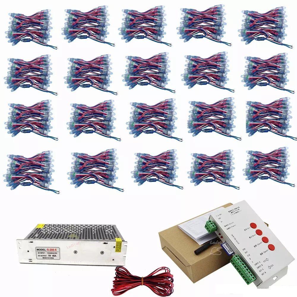 1000 قطع WS2811 ic led بيكسل وحدات مجموعة dc 5 فولت 12 ملليمتر ip68 rgb منتشرة controlable + t1000s تحكم + محول الطاقة