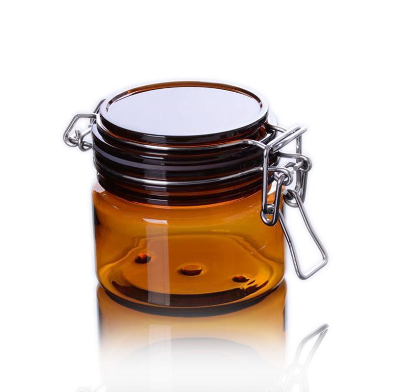Geniş Ağız Pet Mühürlü Kavanoz Amber Temizle Silindirik Kozmetik Kapları Paslanmaz Çelik Kilitleme Toka ve İç Kapaklar ile Flip-Top Kavanoz