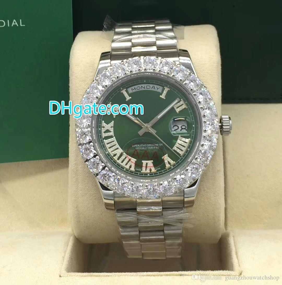 Зубец набор алмазов безель часы с автоподзаводом мужские роскошные серебряный 43 мм корпус зеленый циферблат дата Полный рабочий часы