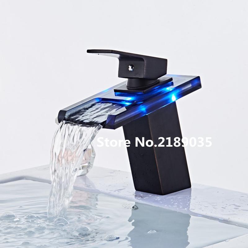 Três cores mudam LED vidro leve cachoeira torneira da bacia para o banheiro. A torneira misturadora para lavatório de bancada preta Deck Mount Square