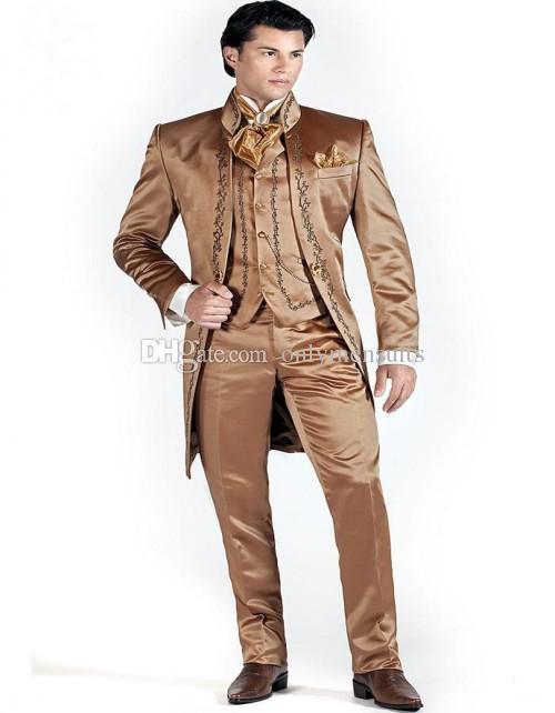 Новое поступление вышитые жениха мандарин отворот жениха смокинги блестящие коричневые мужские костюмы свадьба / выпускной блейзер лучший человек (куртка + брюки + жилет + галстук) O14