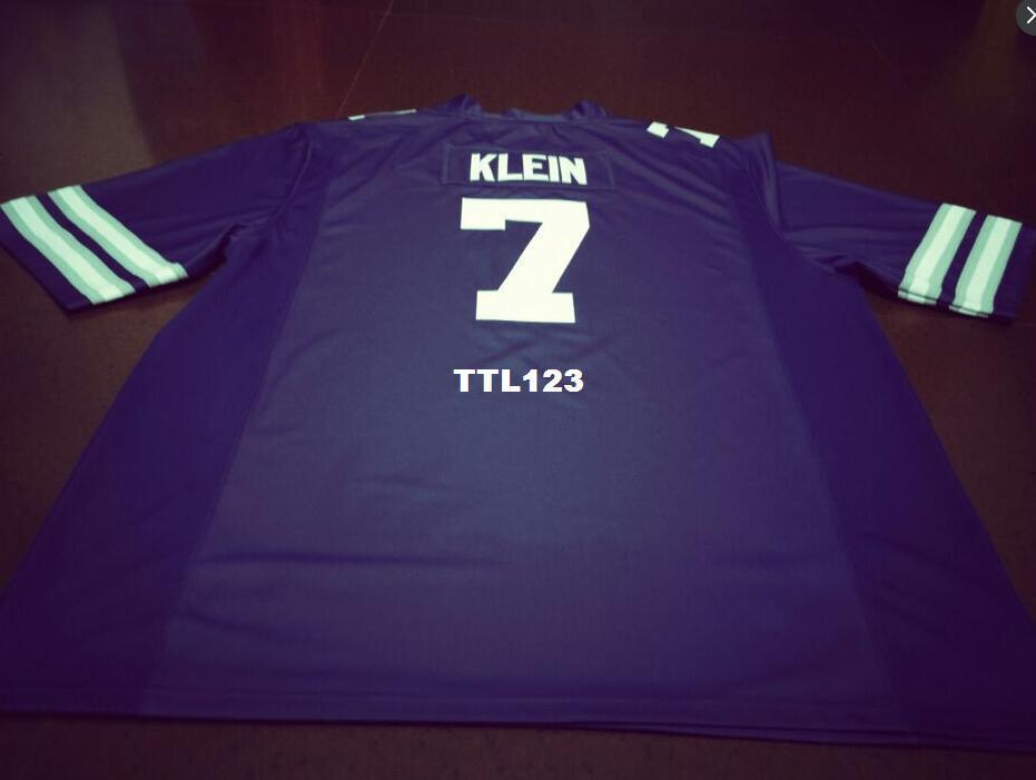 Homens Roxo Branco # 7 Collin Klein Kansas Estado Wildcats Alumni Faculdade Jersey S-4XLor personalizado qualquer nome ou número de jersey