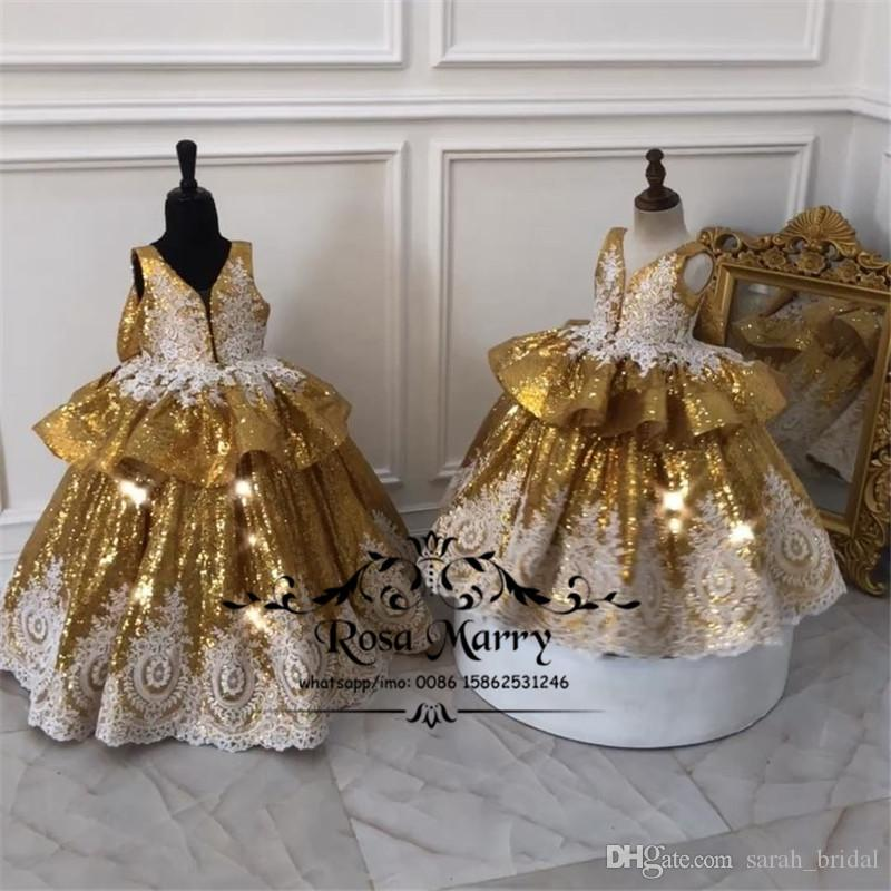 Gold Sequined Ball Gown Girls Pageant Dresses 2019 Vintage Lace Ruffles Bow Plus Size Cheap Toddlers Kids Cupcake Pageant Dresses for Teens