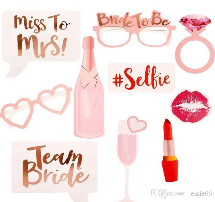 UK SELLER Team Bride Hen Do Party Props Photo Booth Pink Bride To Be Selfie