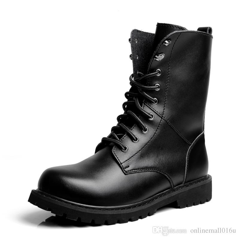 أحذية موتو رجالية في الهواء الطلق منتصف العجل أحذية الجيش أحذية رجالية جلدية الصحراء العسكرية التكتيكية الحذاء حذاء أسود القتال