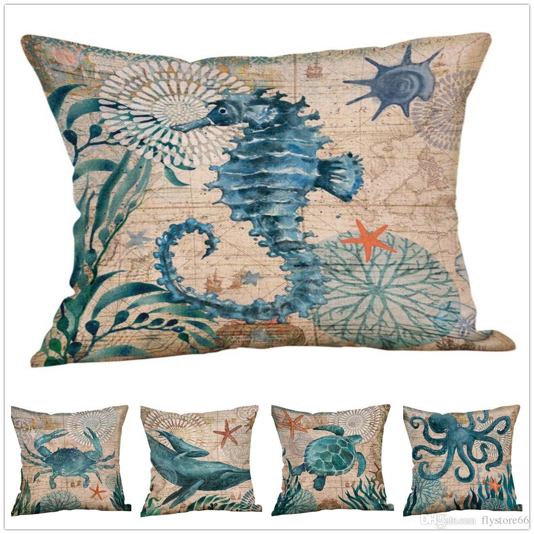 Moda lindo patrón de animales marinos funda de almohada funda de cojín fiesta en casa decoración de la cama regalos envío gratis