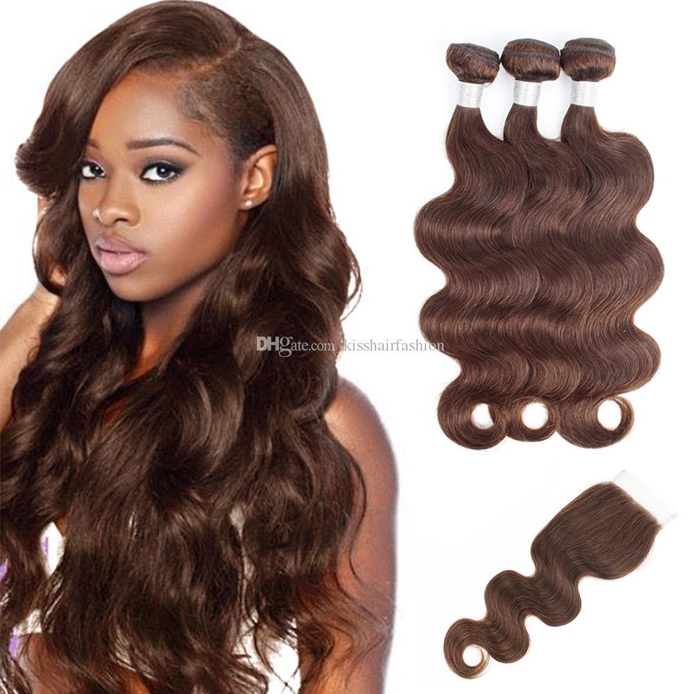 Kuss Haar Körper Wellenfarbe 4 Schokolade braune Farbe 2 dunkelbraun 3 Bündel mit Spitze Verschluss Rohe Jungfrau Indianer Remy Human Hair