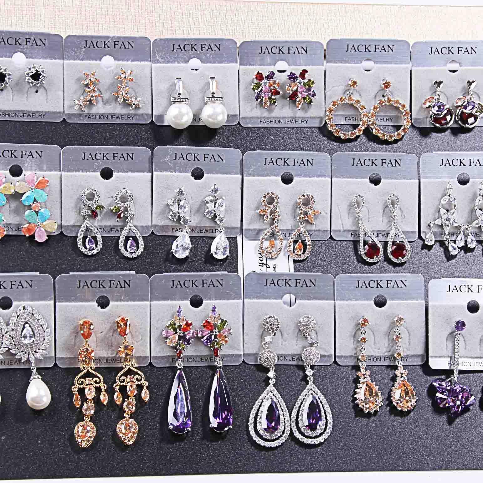 2018 Hot vente délicate Extravagant Perle zircon pierres précieuses cristal Boucles D'oreilles Mélanger 15 Style 15 paires Fille / Madame Mode Boucles D'oreilles