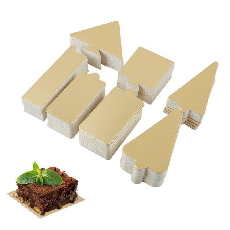 Delidge الذهبي موس كعكة المجالس ساحة مستطيل الشكل شجرة عيد الميلاد ورقة كب كيك وسادات قاعدة كعكة أداة الديكور 400PCS / مجموعة
