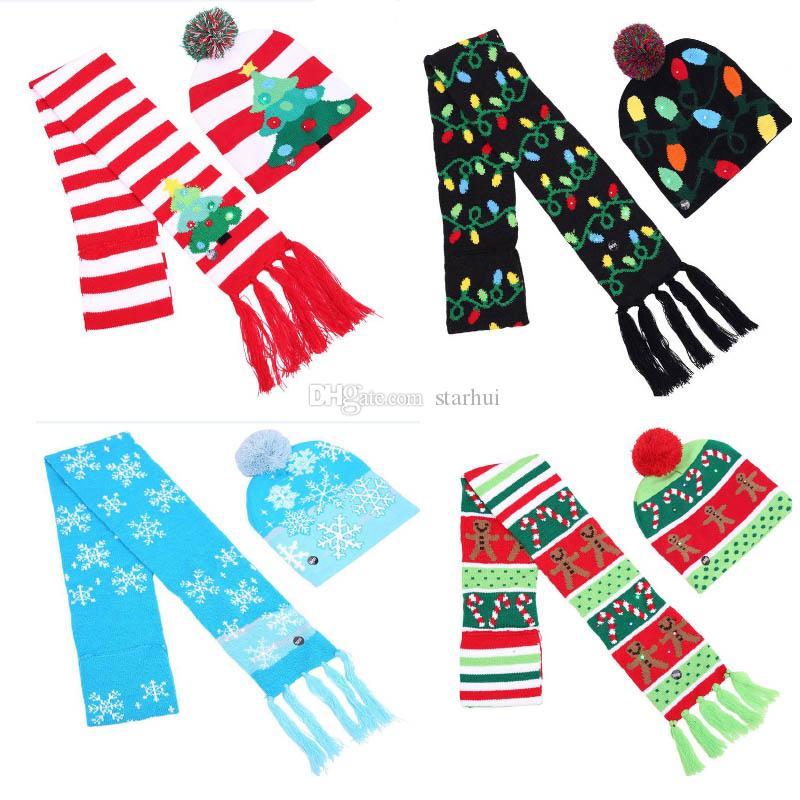 크리스마스 LED 니트 모자 스카프 세트 깜박이 비니 스카프 키트 모자 눈송이 엘크 순 록 크리스마스 트리 파티 소품 WX9-1081
