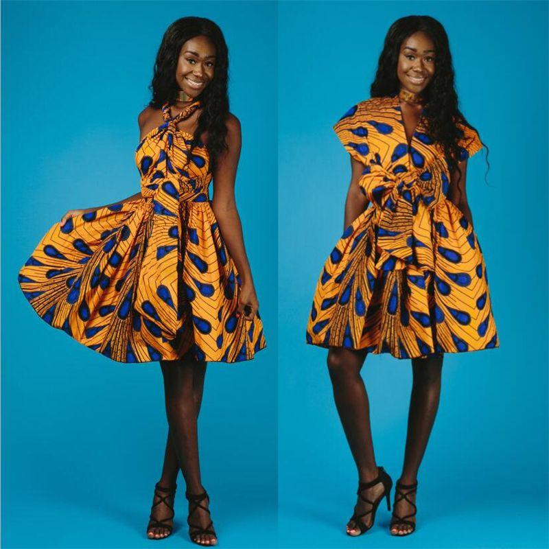 Сексуальный павлин печатных вечерние африканские платья для женщин 2018 стиль крест повязка платье дамы традиционная Африка одежда