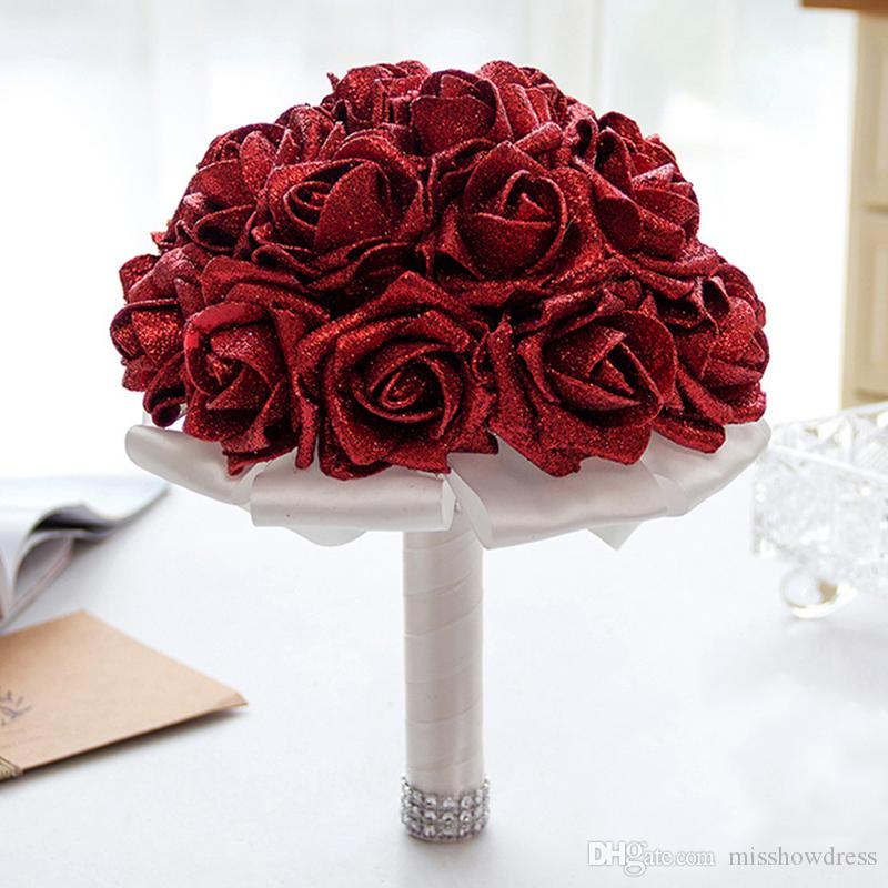 Flores artificiales decoración de la boda de espuma barato novia de la boda del ramo de la dama de honor nupcial mano que sostiene el Broche Flores CPA1586