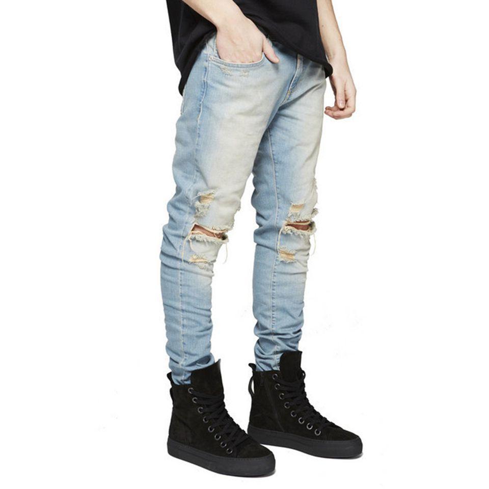 Skinny ripped jeans men Biker Hole Destroyed Mens Designer Jeans Jogger Slim Trousers Male Retro Denims Pants Fashion Casual