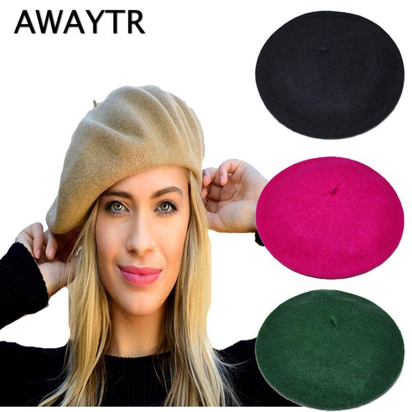 Women's Hat Fashion Women Beret Cap Winter Warm Wool Hats Casual French Artist Beanie Hat Cap Headwear Fall Berets