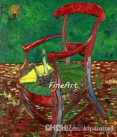 handpainted van gogh chair painting on canvas famous artist wall art deco the decorative painting home decor unique gift Kungfu Art