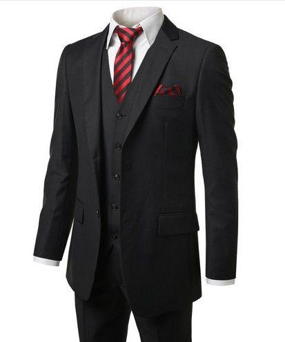 Smoking da sposo in stile classico Groomsmen da uomo Prom Abiti da sposa Sposo 2017 Tute nere di alta qualità (giacca + pantaloni + vest + cravatta)