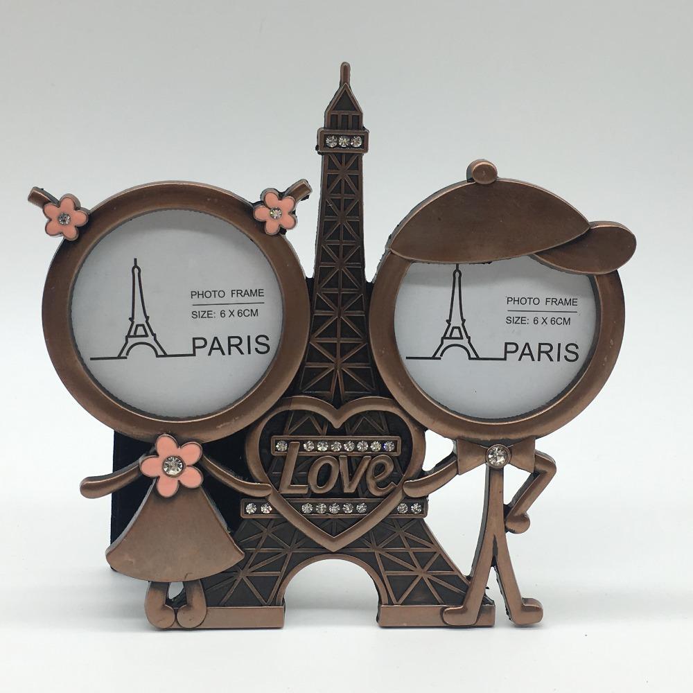 تفضل الزفاف العتيقة النحاس برج ايفل مع الحب القلب 2 إطار الصورة زوجين هدايا زوجين إطار الصورة