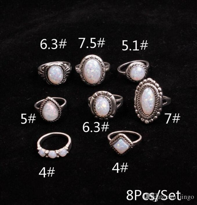 8pcs / set joyería Anillos de Plata piedra preciosa natural de la boda del anillo de compromiso Favor retro Partido Simples anillos nt